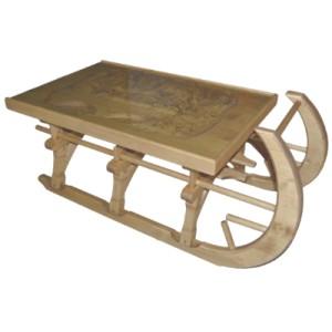 Table basse luge sculptée plateau verre - Esprit chalet