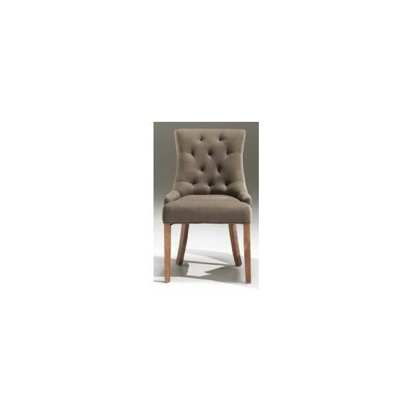 chaise capitonn e de couleur taupe nancy. Black Bedroom Furniture Sets. Home Design Ideas