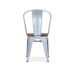 Chaise d'atelier en acier gris clair assise orme antique