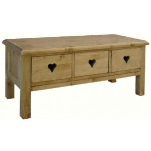 Table basse 3 tiroirs avec découpes de cœurs - Valloire