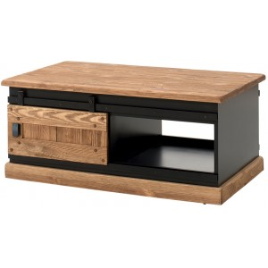 Table basse pin 2 portes coulissantes - Rexton Casita