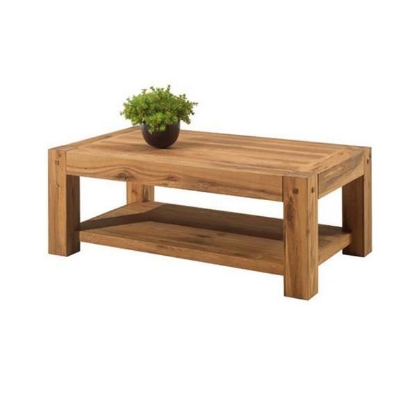 Table basse rectangulaire double plateau lodge casita for Table salon bois massif