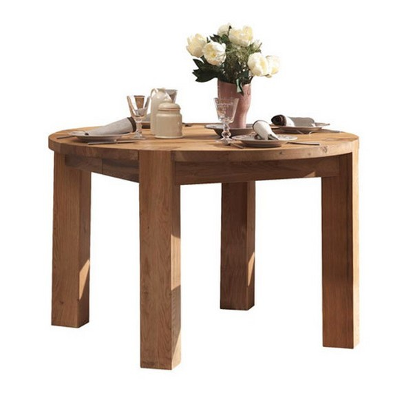 Table ronde lodge avec 1 allonge de 45 cm collection pictures for Table ronde 100 cm avec rallonge