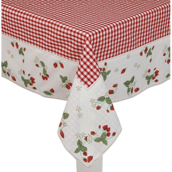 Nappe tissu 100x100 decor fraises for Clayre et eef