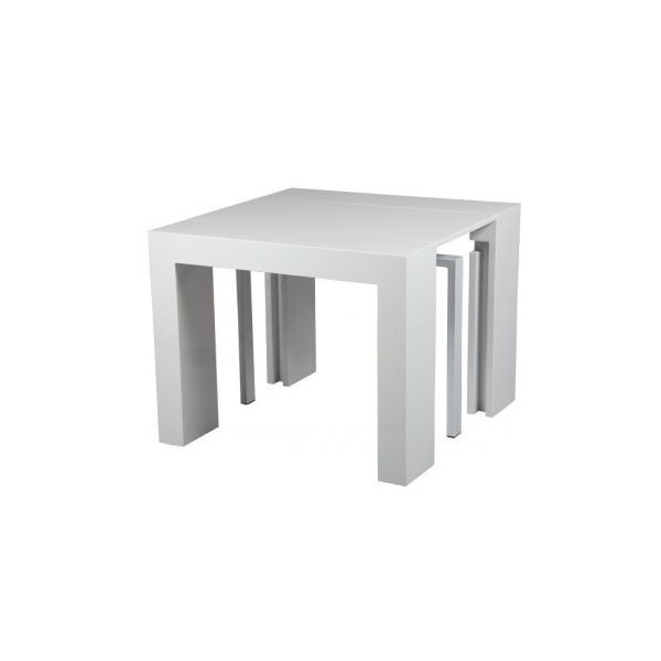 console transformable table blanc. Black Bedroom Furniture Sets. Home Design Ideas