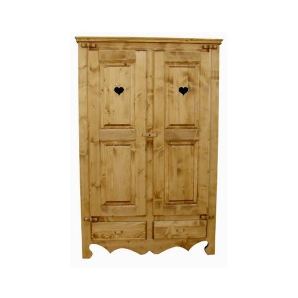 armoire bois deux portes coeur. Black Bedroom Furniture Sets. Home Design Ideas