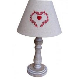 LAMPE BOIS ABAT-JOUR COEUR ROUGE COUNTRY CASA