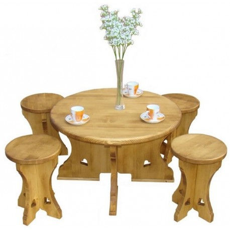 table basse ronde bois massif avec tabourets incrustation coeurs. Black Bedroom Furniture Sets. Home Design Ideas