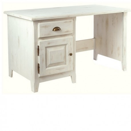 Bureau 1 porte 1 tiroir en pin massif cérusé blanc de la collection ... d8ed105a5659