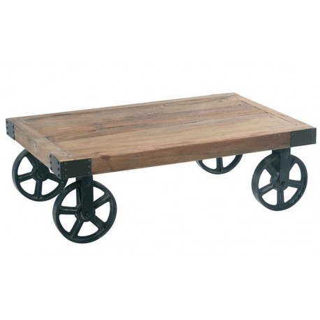 TABLE BASSE CHARIOT ROUES FER CROSS CASITA
