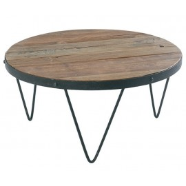 TABLE BASSE RONDE LOFT CROSS BOIS ET FER CASITA