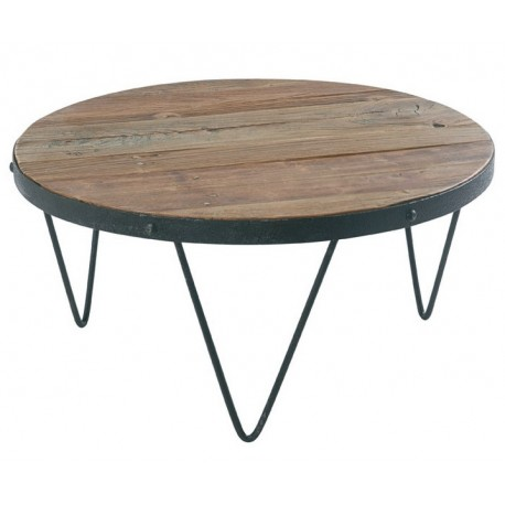 Table Basse Bois Et Fer.Table Basse Ronde Loft Cross Bois Et Fer Casita