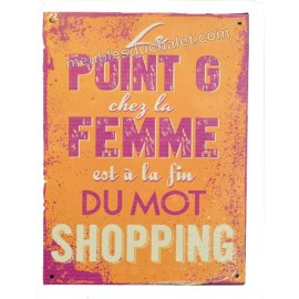 PLAQUE METAL HUMORISTIQUE MISOGYNE SHOPPING 15 x 20