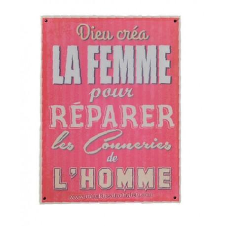 PLAQUE METAL HUMORISTIQUE 15 x 20 cm DIEU CREA LA FEMME