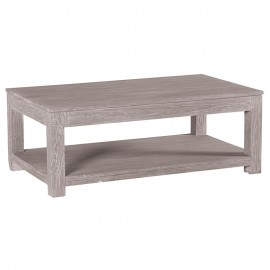 Table basse rectangulaire double plateau 2 tiroirs Mindi Massif-Lagoon Casita