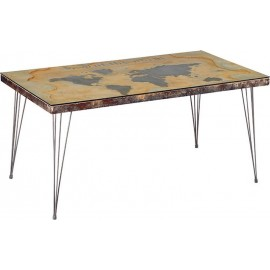 Table rectangulaire mappemonde en 1m60-World Casita