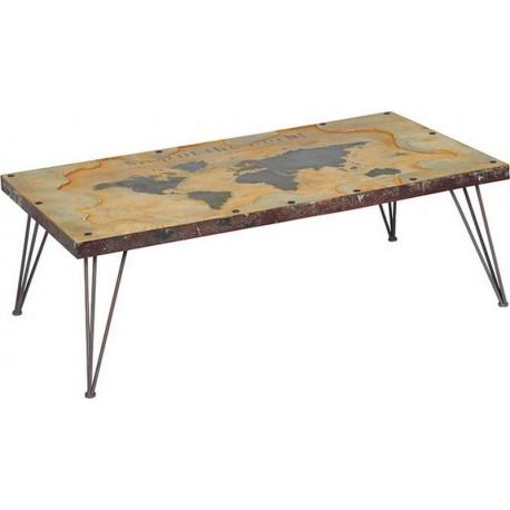 Table basse mappemonde en 1m15-World Casita
