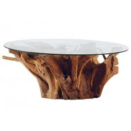 Table basse ronde racine de teck et plateau en verre - Roots Casita