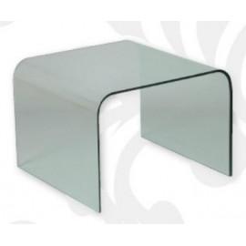 Bout de canapé en verre courbé