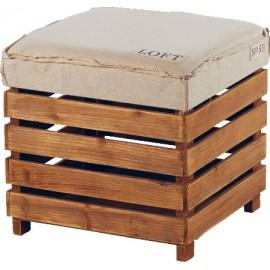 Pouf bois Loft Brooklin - Sofacasa