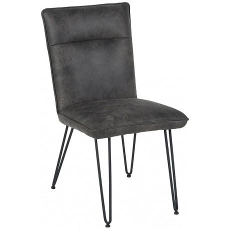 Chaise microfibre gris pieds fer - Casita