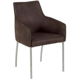 Chaise havane avec accoudoirs pieds inox - Casita