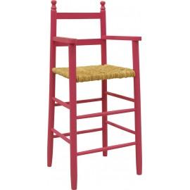 Chaise haute enfant laquée de couleur framboise AUBRY GASPARD