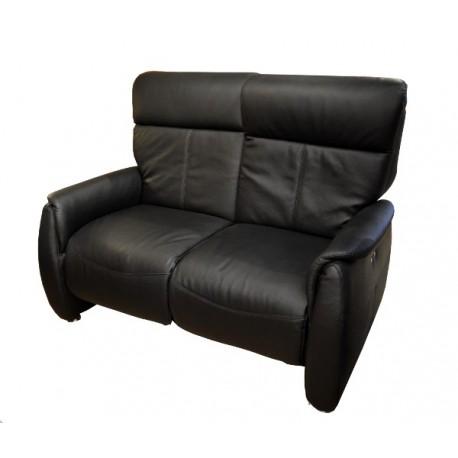 Canapé 2 places relaxation électrique cuir noir