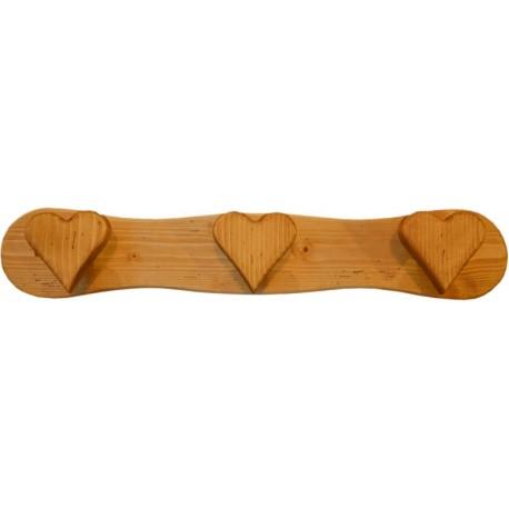 Porte manteaux 3 patères en forme de coeur