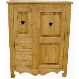 Armoirette 2 portes 3 tiroirs pin massif - Cœur de Montagne