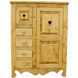 Farinier 2 portes 4 tiroirs pin massif - Cœur de Montagne