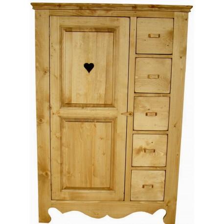 Armoirette 1 porte 5 tiroirs pin massif - Cœur de Montagne
