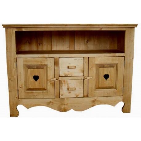 meuble tv 2 portes 2 tiroirs 1 niche coeur de montagne