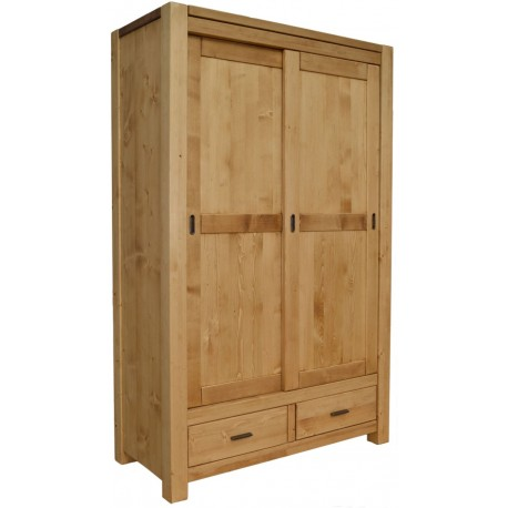 armoire 2 portes coulissantes 2 tiroirs scandinavia. Black Bedroom Furniture Sets. Home Design Ideas