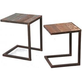 Lot de 2 tables gigogne acier et bois recyclé