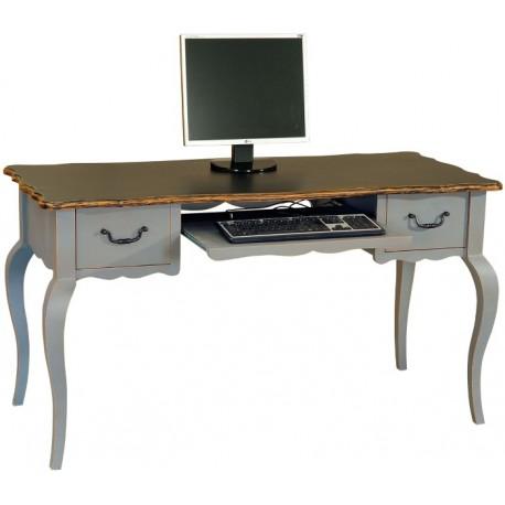 Bureau 2 tiroirs 1 tirette informatique 2 tons - Quercy