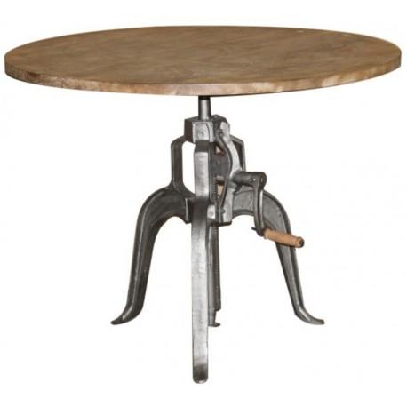 Table ronde réhaussable métal et acacia - Phoenix