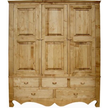 Armoire 3 portes 5 tiroirs - Coeur de montagne