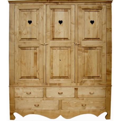 Armoire coeurs 3 portes 5 tiroirs - Coeur de montagne