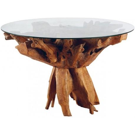 Table Ronde Racine De Teck Dessus Verre Roots Casita