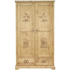 Armoire bois sculpté 2 portes 2 tiroirs - Esprit Chalet