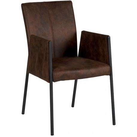 Chaise avec accoudoirs microfibre havane