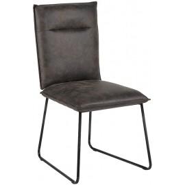 Chaise grise microfibre et métal - Casita