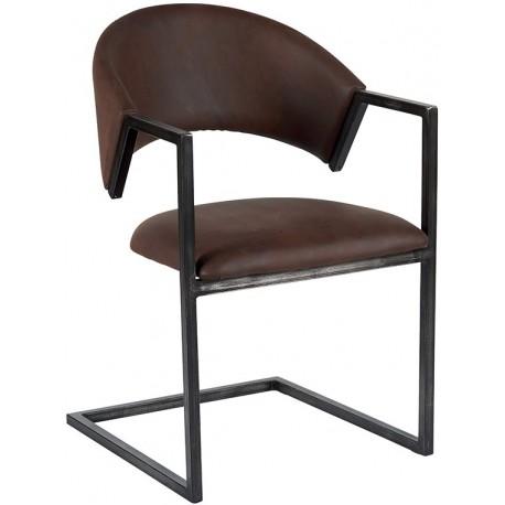 Chaise recouvrement havane et piétement métal - Casita