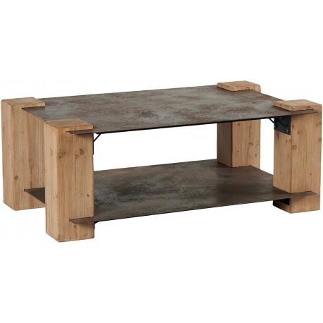 Table basse double plateau sapin et métal - Acty asita