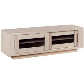 Meuble TV 2 portes vitrées fumées - Manufacture Casita