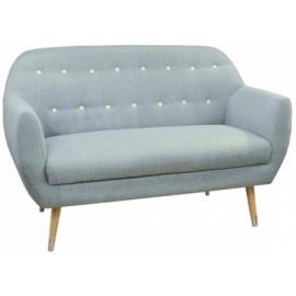 Canapé 2 places bleu détails blancs - Grimsby Sofacasa
