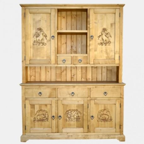 Vaisselier sculpté 5 portes 5 tiroirs - Esprit Chalet