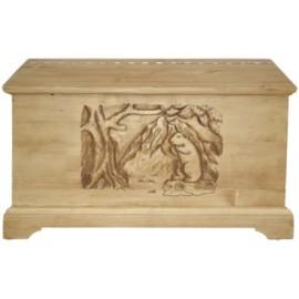 Coffre sculpté pin massif - Esprit chalet