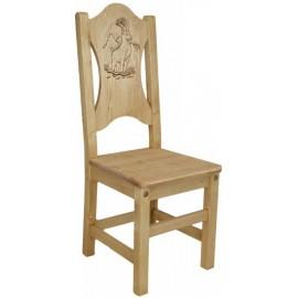 Chaise pin massif sculptée - Esprit chalet